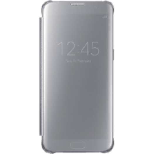Galaxy S7 Edge clear view cover tok ezüst