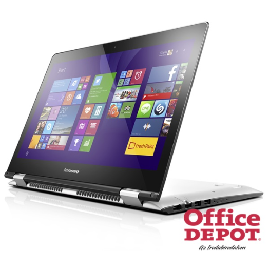 "LENOVO Yoga500 80N4012HHV 14""FHD IPS Touch/Intel Core i3-5005U/4GB/128GB SSD/fehér/Win10 notebook"