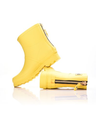YELLOW COLOR ANKLE BOOT WITH ZIPPER