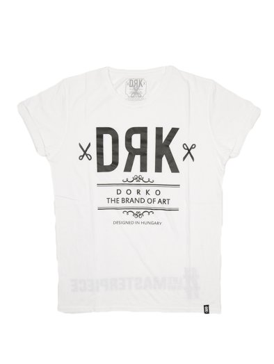 WHITE DRK FRONT TEE