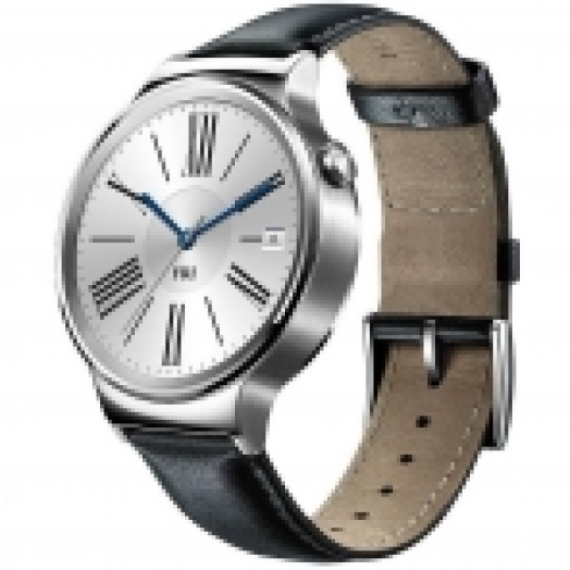 HUAWEI WATCH STAINLESS STEEL, BLACK LEATHER BAND