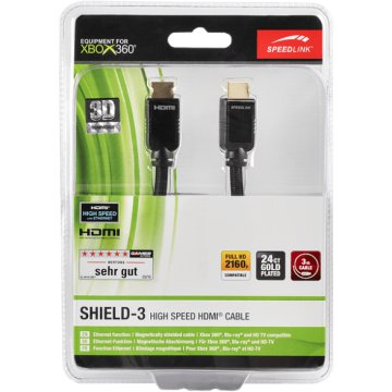 Xbox 360 SHIELD-3 High Speed HDMI kábel, Ethernet, 3m