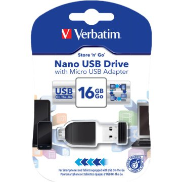 Nano 16 GB USB 2.0 pendrive + microUSB adapter