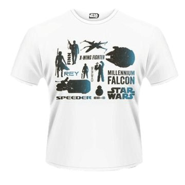 Star Wars The Force Awakens - Blue Heroes Character T-Shirt M