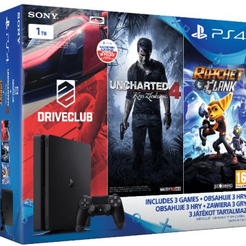 PlayStation 4 Slim 1 TB + Driveclub + Uncharted 4 + Ratchet & Clank Bundle