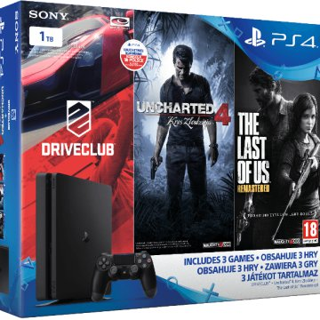 PlayStation 4 Slim 1 TB + Driveclub + Uncharted 4 + The Last of Us Bundle