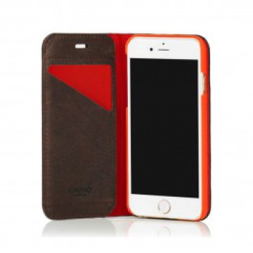 Knomo - Premium Leather Folio iPhone 6 tok - Barna