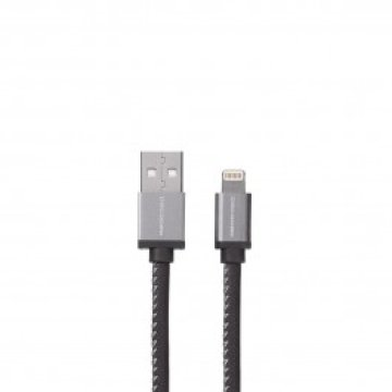 Decode - Leather Lightning to USB kábel (1,2m) - Fekete