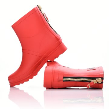 RED COLOR ANKLE BOOT WITH ZIPPER