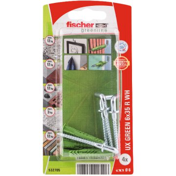 "DŰBEL 6X35MM 4 DB KAMPÓVAL ""UX GREEN"" FISCHER"