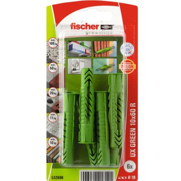 "DŰBEL 10X60MM 6 DB ""UX GREEN"" FISCHER"
