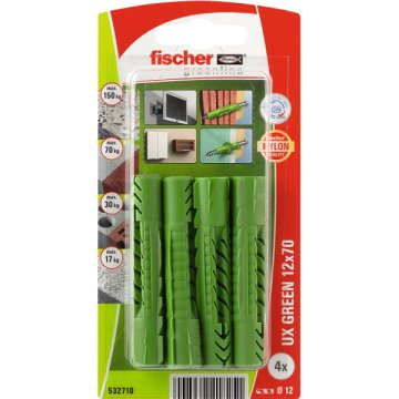 "DŰBEL 12X70MM 4 DB ""UX GREEN"" FISCHER"