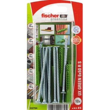 "DŰBEL 6X50MM 10 DB CSAVARRAL ""UX GREEN"" FISCHER"
