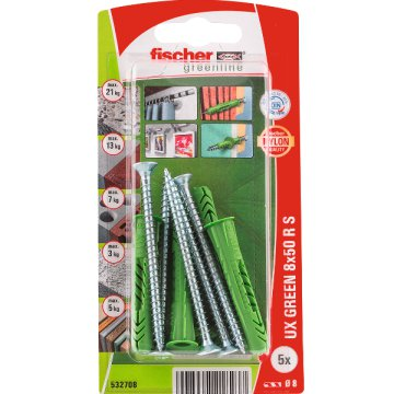 "DŰBEL 8X50MM 5 DB CSAVARRAL ""UX GREEN"" FISCHER"