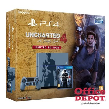 Sony PlayStation 4 1TB fekete konzol + Uncharted 4: A Thiefs End Limited Edition játék