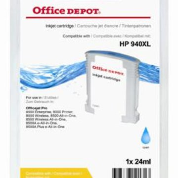 Office Depot HP C4907AE/940XL kompatibilis patron, cián