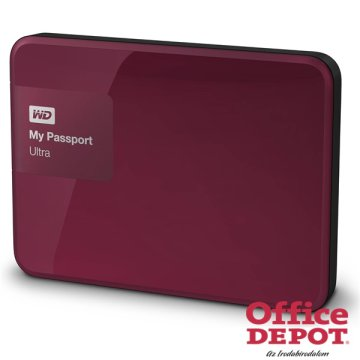"Western Digital 2,5"" 1000GB külső USB3.0 piros My Passport Ultra Wild Berry winchester"