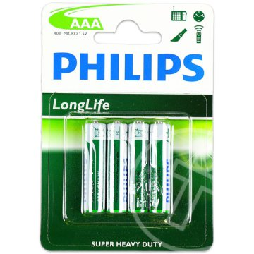 Philips: Long Life AAA 1,5 voltos elem - 4 db