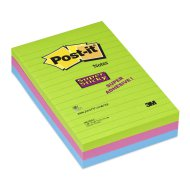 Post-it Super Sticky jegyzet- tömb 102x152mm vonalas 3tömb